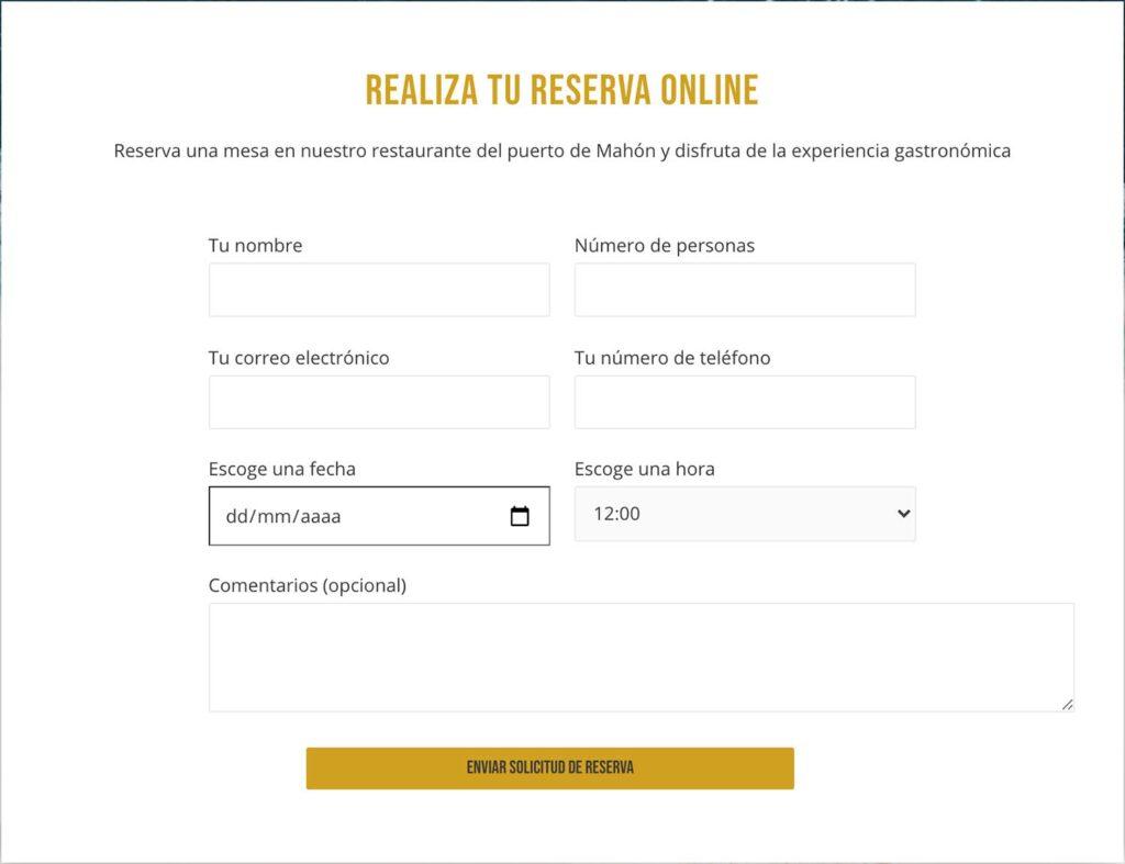 Somos expertos en el diseño de páginas web para restaurantes y hostelería Formulario de reservas